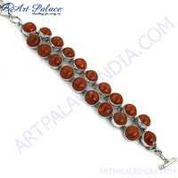 Hot Luxury Red Sponge Coral Silver Bracelet