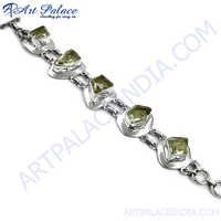 Modern Crystal Silver Bracelet