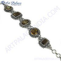 Charming Brown Smokey Quartz Silver Bracelet