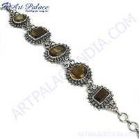 Charming Brown Smokey Quartz Silver Bracelet