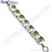 Square Crystal Silver Bracelet