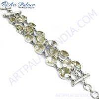 Party Wear Crystal Ethnic Silver Bracelet