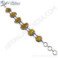Fancy Design  Amethyst Silver Bracelet