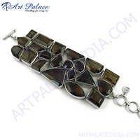 Smokey Quartz Ethnic Silver Bracelet