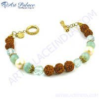 Blue Topaz And Rudrakhsha Beads Bracelet