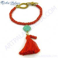 Coral Terquoise  Bead Bracelet