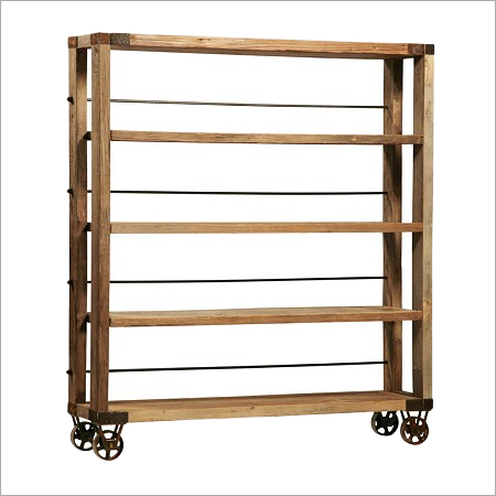 Reclaimed Wood Display Shelf on Iron Wheels