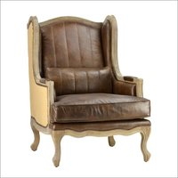 Aged Leather Burlap Arm Chair