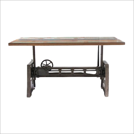 Reclaimed Wood and Iron Adjustable Dining Table