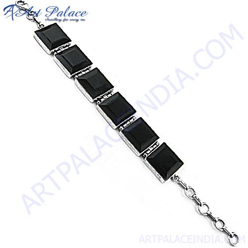 Exclusive Black Onyx Silver Bracelet