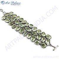 Hot Luxury Green Amethyst Silver Bracelet