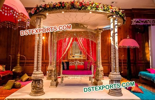 Traditional Wedding Wooden Triple Mandap