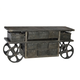 Industrial Trolley Cart with Drawers