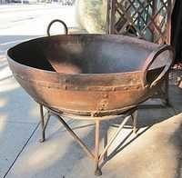 Studded Iron Fire Bowl with Stand