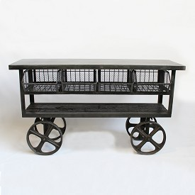 Teak and Iron Trolley Cart