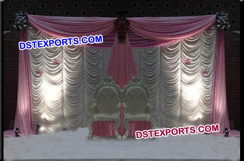 Wedding Stage Elegent White Pink Backdrop