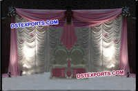 Wedding Stage Elegent White Pink Backdrop