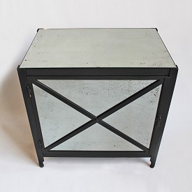 Modern Iron And Mirror Bedside Cabinet