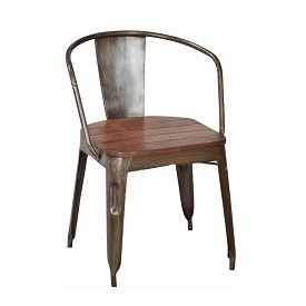 Industrial Iron Chair with Wood