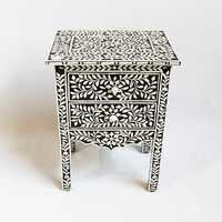 Bone Inlay Nightstand With Drawer