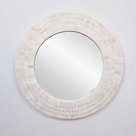 Carved Scalope Bone Mirror