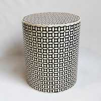Bone Inlay Side Table Black