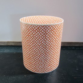 Bone Inlay Stool \ Side Table Orange