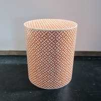 Bone Inlay Stool Side Table Orange
