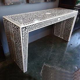 Bone Inlay Console Table / Black