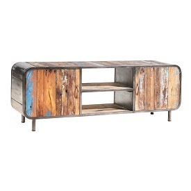 Reclaimed Wood and Iron Plasma Stand