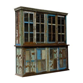 Vintage reclaimed Boat Wood Display Cabinet