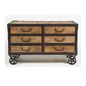 Reclaimed Wood and Iron Side Cabinet with Drawers