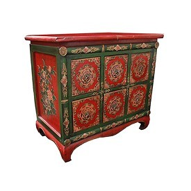 Original Tibetan Hand-Painted Cabinet W 6 Dwrs