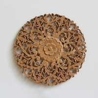 Carved Teak Panel - Natural Teak