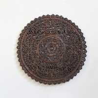 Teak Wood Round Carved Panel
