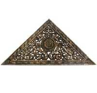Triangular Carved Wood Panel