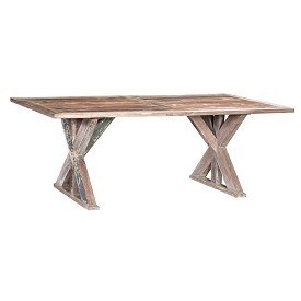 Reclaimed Wood Dining Table with Iron Detail