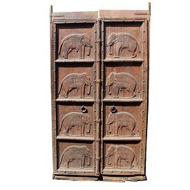 Jodhpur Carved Wood Elephant Door