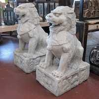 Granite Foo Dog Statues (Pair) circa 1950