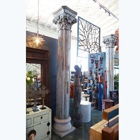 Vintage Teak Column / Stone