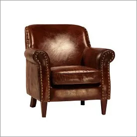Aged Leather Club Chair