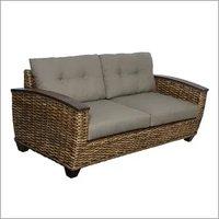 Woven Rattan Sofa w/ Wood Arms