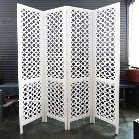 Carved Wood Work White Screen / Room Devider