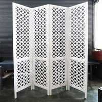 Carved Wood Work White Screen / Room Divider