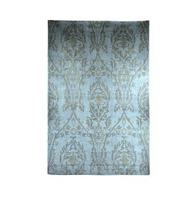 Hand-Knotted Blue and Grey Rug