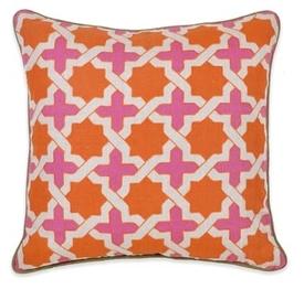 Lattice Orange and Pink Linen Pillow
