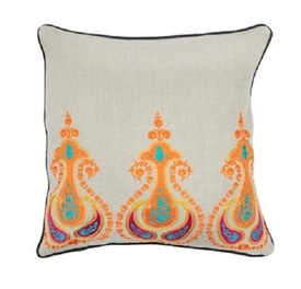 India Embroidered Linen Pillow