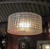 Capiz Shell Drum Hanging Lantern