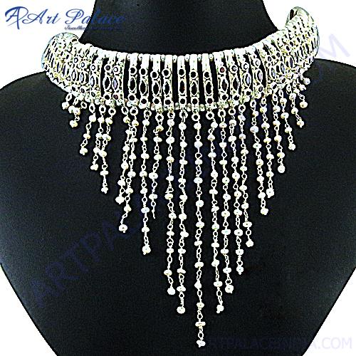 Fashionable Garnet Pearl Silver Nacklace