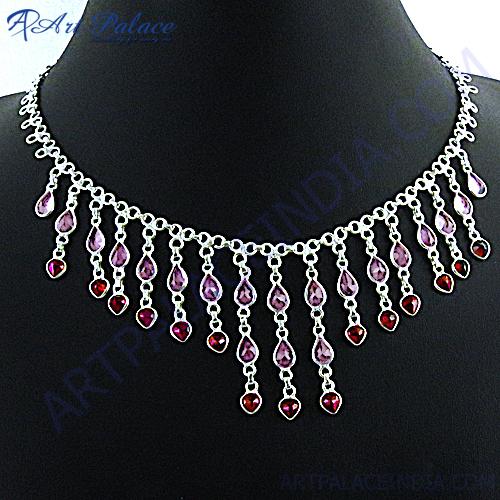 Heart Style Amethyst Garnet Silver Necklace